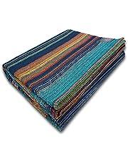 Craft Story Deken Fatima I turkoois-blauw-oranje-geel gestreept van 100% katoen I sprei I sofa-deken I sprei I picknickdeken I nuttige & beschermende deken I ca. 170 x 220 cm