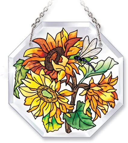 Hand-Painted Glass Dragonfly and Sunflower Suncatcher