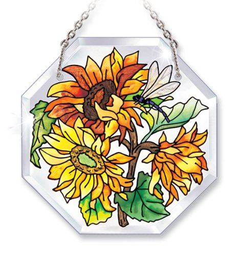 - Amia Hand-Painted Beveled Glass Dragonfly and Sunflower Suncatcher, 4-1/2-Inch by 4-1/2-Inch Octagon