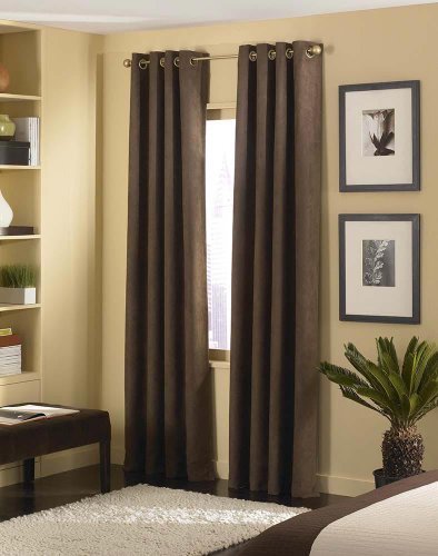 (4 Pices Solid Suede Grommet Top Curtain/Panel/Drape Coffee Brown)
