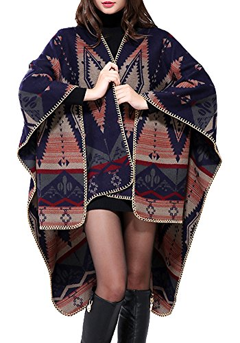 Urban CoCo Women's Color Block Shawl Wrap Open Front Poncho Cape