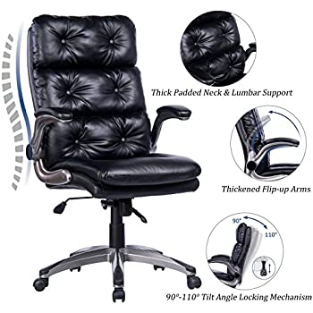 VANBOW High Back Bonded Leather Office Chair - Adjustable Tilt Angle and Flip-up Arms Ergonomic Tufted Computer Desk Executive Chair, Thick Padding for Comfort and Ergonomic Design for Lumbar Support