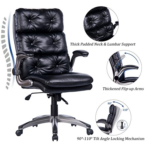 Executive Big Chairs Tall - VANBOW High Back Office Chair - Ergonomic Tufted Bonded Leather Computer Desk Executive Chair, Adjustable Flip-Up Arms, Double Padded Backrest Seat Cushion 360 Degree Rotation, Black