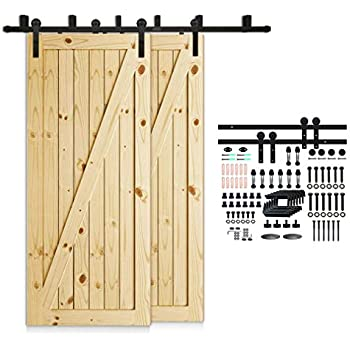 Amazon Com Bypass Barn Door Hardware System 7 Ft Raw
