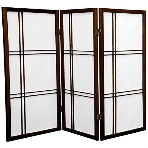 Walnut 3 Panel ORIENTAL FURNITURE 3 ft. Tall Double Cross Shoji Screen - Natural - 6 Panels