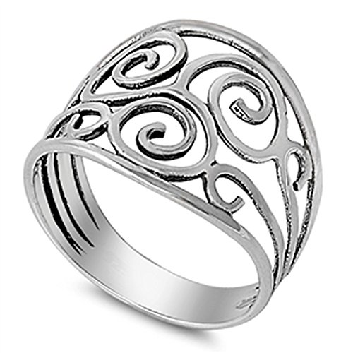 Wide Filigree Swirl Ring - Antiqued Filigree Swirl Spiral Cute Ring New 925 Sterling Silver Band Size 11