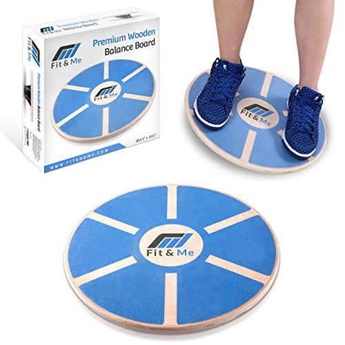 Fit&Me Wooden Wobble Balance Board - Video Exercises Included - Perfect for Exercise, Fitness and Physical Therapy - Improve Balance, Tone Muscles & Strengthen Core Stand Balance Board