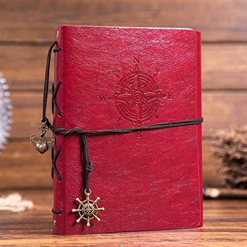 lawrencewang68 Scrapbook DIY Photo Album Leather Memory Book, 60 Pages Hand Made DIY Albums for Travel Graduation Family Anniversary Wedding Gift (Red)