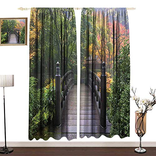 DESPKON-HOME Nature Outdoor Curtains for Patio Drapes for Living Room Wooden Bridge at Portland Japanese Garden Oregon in Foggy Autumnal Morning Park Curtain Backdrop W96 x L84 in Green Coral (Patio Portland Furniture Oregon)