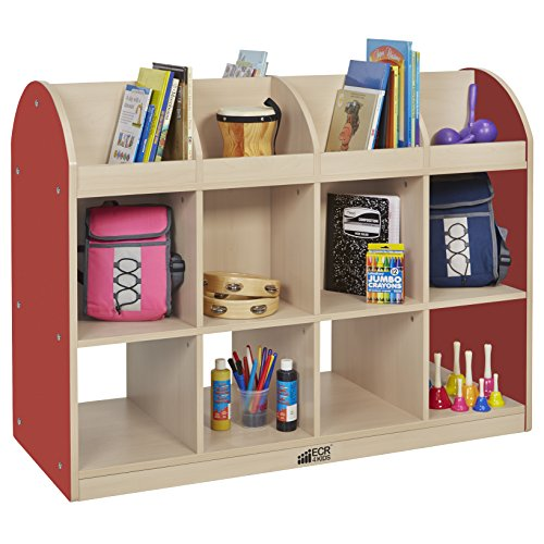 ECR4Kids Colorful Essentials Double-Sided Book Display and Storage Cabinet - Standard - Maple/Red