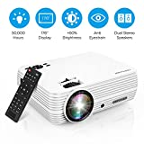 Projector, DBPOWER X5 +60% Brightness Mini Portable Video Projector 176' Display 50,000 Hours LED Full HD Projector 1080P 2018 Released, Compatible with HDMI VGA AV USB TF Amazon Fire TV Stick