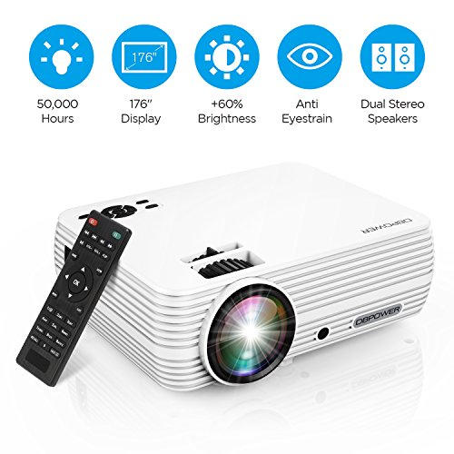 """Projector, DBPOWER X5 +60% Brightness Mini Portable Video Projector 176"""" Display 50,000 Hours LED Full HD Projector 1080P 2018 Released, Compatible with HDMI VGA AV USB TF Amazon Fire TV Stick"""