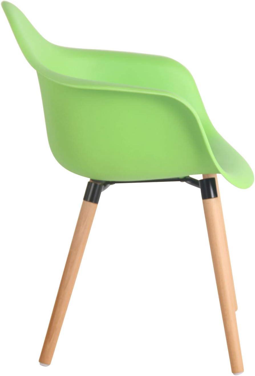 Gestell Farbe:Natura Farbe:gr/ün CLP Gartenstuhl Gaffney Mit Kunststoff-Sitzschale I Kunststoffstuhl Mit R/ückenlehne I Sitzh/öhe Von 45 cm I Buchenholzgestell