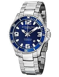 Stuhrling Original Men's 395.33U16 Aquadiver Regatta Champion Professional Diver Swiss Quartz Date Blue Bezel Watch