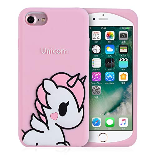 Joyleop Angel Unicorn Case for iPhone SE/5S/5C/5 Cover,Cute Kids Girls Teens Cartoon Shell,3D Pink Soft Silicone Animal Kawaii Character Unique Rubber Shockproof Chic Fresh Protector for iPhone 5/5S (Cases Hello Kitty 5 Iphone)