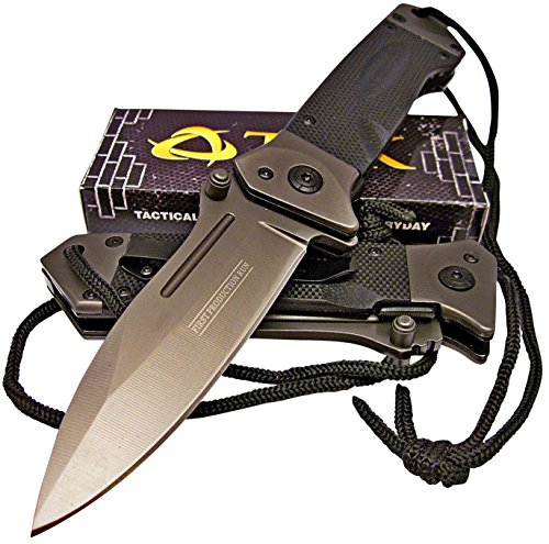 TEK-Spring-Assisted-Opening-HEAVY-DUTY-Folding-Pocket-Knife-LMF-Style-Pommel-with-lanyard-Lighting-Fast-Deployment-Razor-Sharp-Drop-Point-Blade-Brand-New-Only-From-Tactical-Edge-Knives