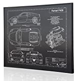 Ferrari F430 Blueprint Artwork-Laser Marked & Personalized-The Perfect Ferrari Gifts