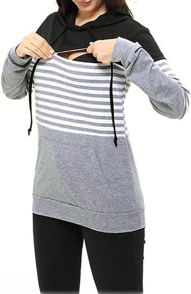 Ucoolcc Veste Grossesse T Shirt Allaitement Pull Long Hiver V/êtement Femme Enceinte Mode Sweat /à Manches Longues Top dallaitement Maternit/é Tunique Blouse Pullover de Allaitement