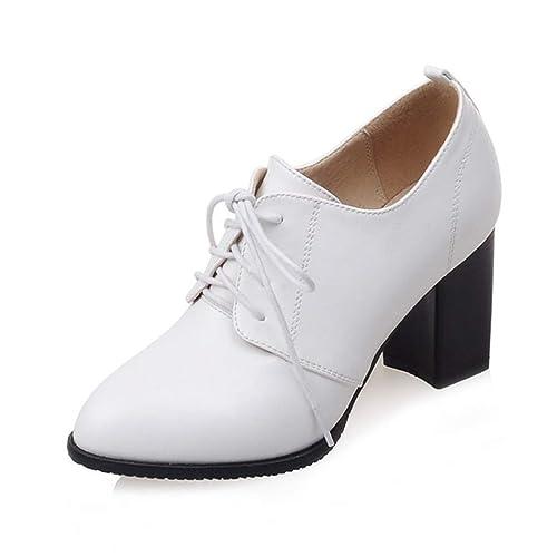 Mujer Oxford Zapatos Tacones Comodidad Oficina señora Gruesos Tacones  maduran Acentuado del Dedo del pie Bombas de Cordones  Amazon.es  Zapatos y  ... 4e1af0927f94