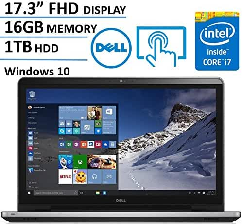 2017 Dell Inspiron 17.3 Inch Full HD (1920 x 1080) Touchscreen Signature Edition Laptop, Intel Core i7-6500U 2.5 GHz, 16GB DDR4, 1TB HDD, DVD +/-RW, 802.11AC, Bluetooth, HDMI, Win 10 - Silver