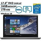 Dell Inspiron 17.3 Inch Full HD (1920 x 1080) Touchscreen Signature Laptop, Intel Core i7-6500U 2.5 GHz, 16GB DDR4, 1TB HDD, DVD +/-RW, 802.11AC, Bluetooth, HDMI, Win 10 - Silver