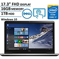 Dell Inspiron 17.3 Inch Full HD (1920 x 1080) Touchscreen Signature Laptop, Intel Core i7-6500U 2.5 GHz, 16GB DDR4, 1TB HDD, DVD +/-RW, 802.11AC, Bluetooth, HDMI, Win 10 - Silver