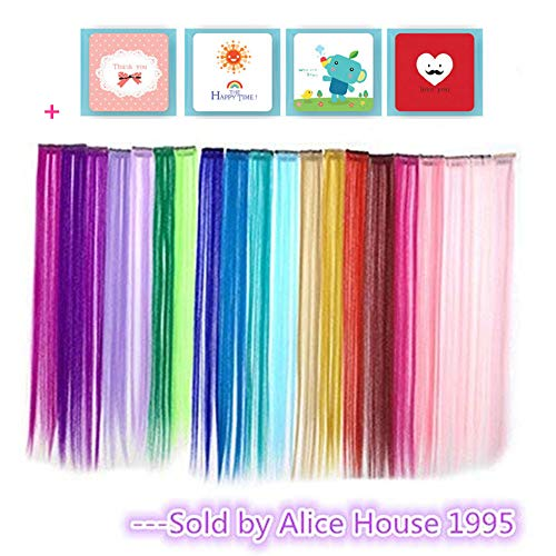 Bundle 24 Pieces of 20 Inches Multi-colors Party Highlights Colorful Clip in Synthetic Hair Extensions,straight long Hairpiece -