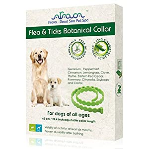 Arava Flea & Tick Prevention Collar - for Dogs & Puppies - Length-25'' - 11 Natural Active Ingredients - Safe for Babies & Pets - Safely Repels Pests - Enhanced Control & Defense - 6 Months Protection 1