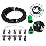 KINGSO 10m Home Garden Patio Misting Micro Flow Drip Irrigation Misting Cooling System with 10pcs Plastic Mist Nozzle Sprinkler for Plant Flower