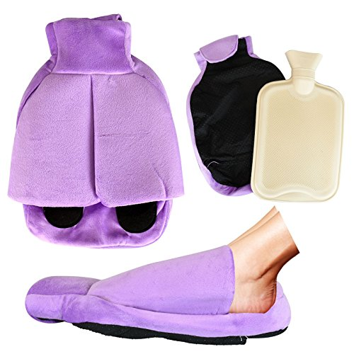 ASAB Large Rubber Hot Water Bottle Natural Heated Foot Warmer Cosy Snug Muff Soft Fleece Feet Pouch Slipper Purple