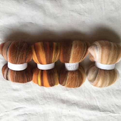 Maslin 4 Colors Australia 20um Sheep 100% Wool Fiber Needle Felting Wool for Felt Wool roving 10g/20g/50g/100g/color - (Color: Total 400g)