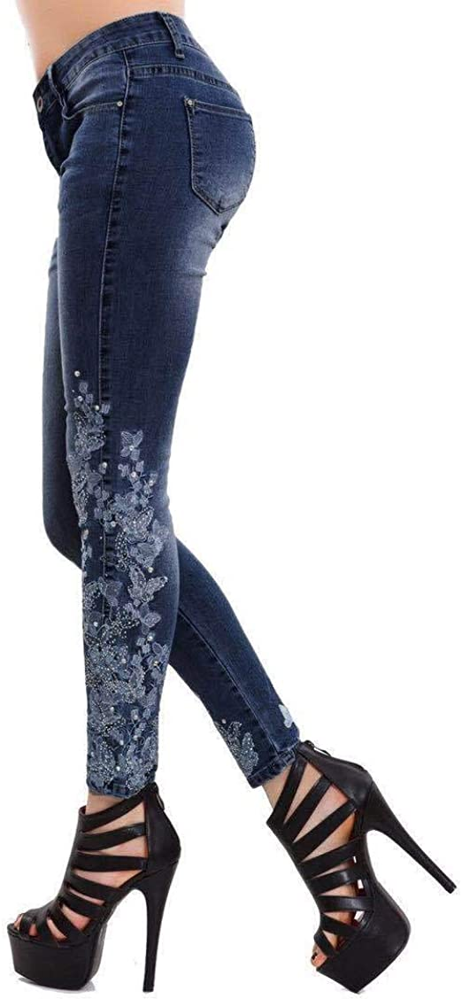 Romancly Womens Denim Stretch Embroidered Washed Plus Size Denim Skinny Jeans