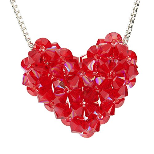 Sterling Silver and Swarovski Crystal Red Woven Puffy Heart Necklace Swarovski Crystal Puffy Heart Pendant