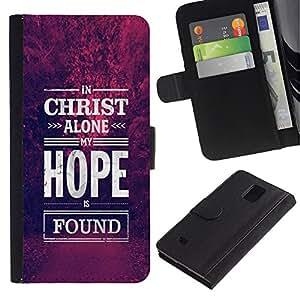 LASTONE PHONE CASE / Lujo Billetera de Cuero Caso del tirón Titular de la tarjeta Flip Carcasa Funda para Samsung Galaxy Note 4 SM-N910 / Christ Hope God Christian Purple