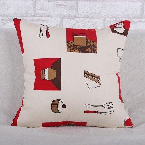 """Custom Cotton Linen Leaning Cushion Covers Pillowslip 17.7"""" x 17.7"""" Square Throw Pillow Case ,Cake"""