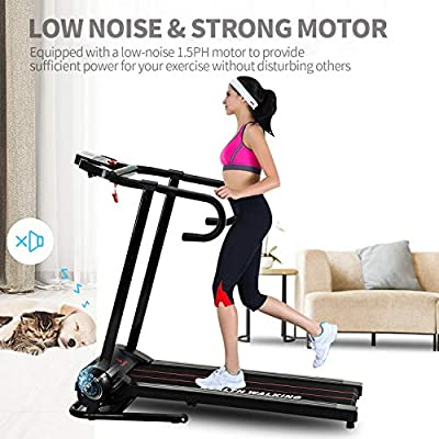 Fitnessclub Folding Treadmill, 1100W 1.5 PH Electric Motorized Running Walking Jogging Machine, with LCD Display and Cup Holder for Home/Office