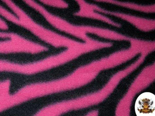 1 X Fleece Fabric Printed Animal Print Zebra FUCHSIA Fabric By the Yard