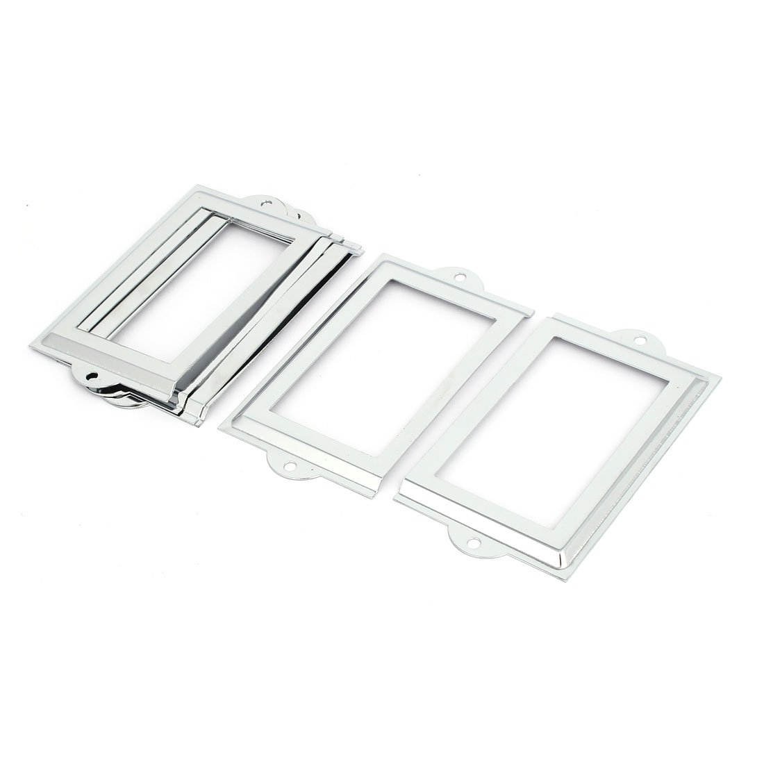 uxcell Office File Drawer 105mm x 60mm Tag Label Holders Frames Silver Tone 6PCS