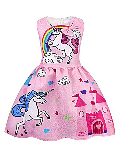 Girl Sleeveless Unicorn Dress Toddler Summer Rainbow Bow Girl Dress ()