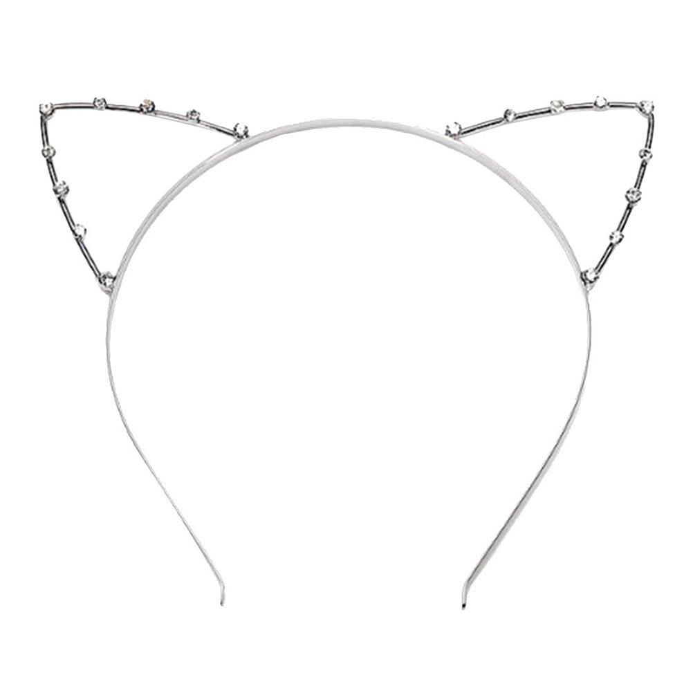Frcolor Cat Ear Headband for Women Girls Metal Hair Hoop Kitten Ears Hairband Costume Party Cosplay 1 PCS(Silver)