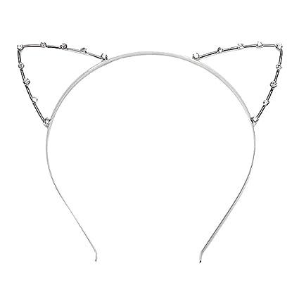 ULTNICE Rhinestone Linda diadema con gato orejas disfraces para fiesta de disfraces