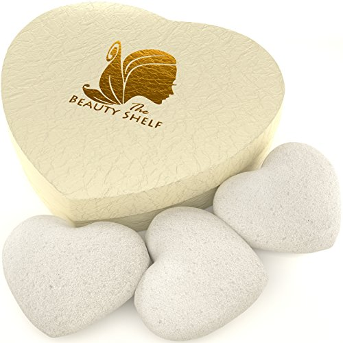 Konjac Sponge (3 Pack) - Facial Cleansing Sponges - Heart Shape for Gentle Exfoliating - Heart Shape Face