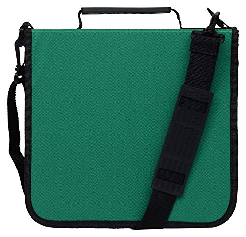 Blue Donuts 228CDGRN CD Case for Car 288 Capacity Hard Nylon Binder DVD Organizer CDS Blu Ray Discs Video Game Holder, Blank Sleeves Accessories, Green