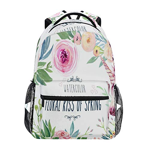 Women/Man Canvas Backpack Special Watercolor Floral Kiss Of Spring Zipper College School Bookbag Daypack Travel Rucksack Gym Bag For Youth