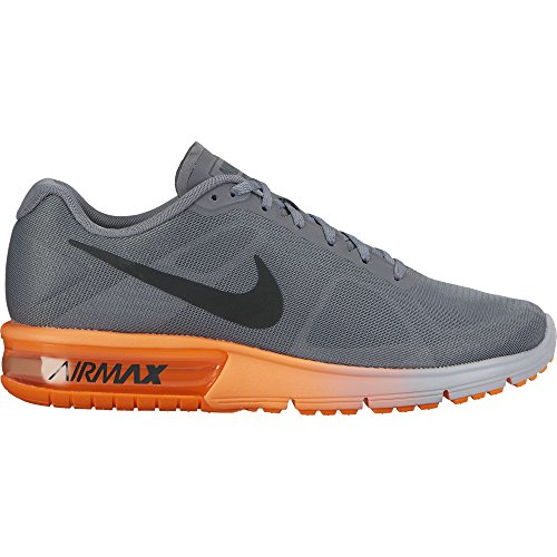 NIKE Men Air Max Sequent Running Shoes (9.5 D(M) US, Cool Grey/Hematite/Total Orange) by NIKE