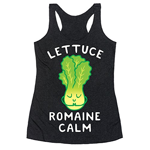- LookHUMAN Lettuce Romaine Calm Large Heathered Black Women's Racerback Tank