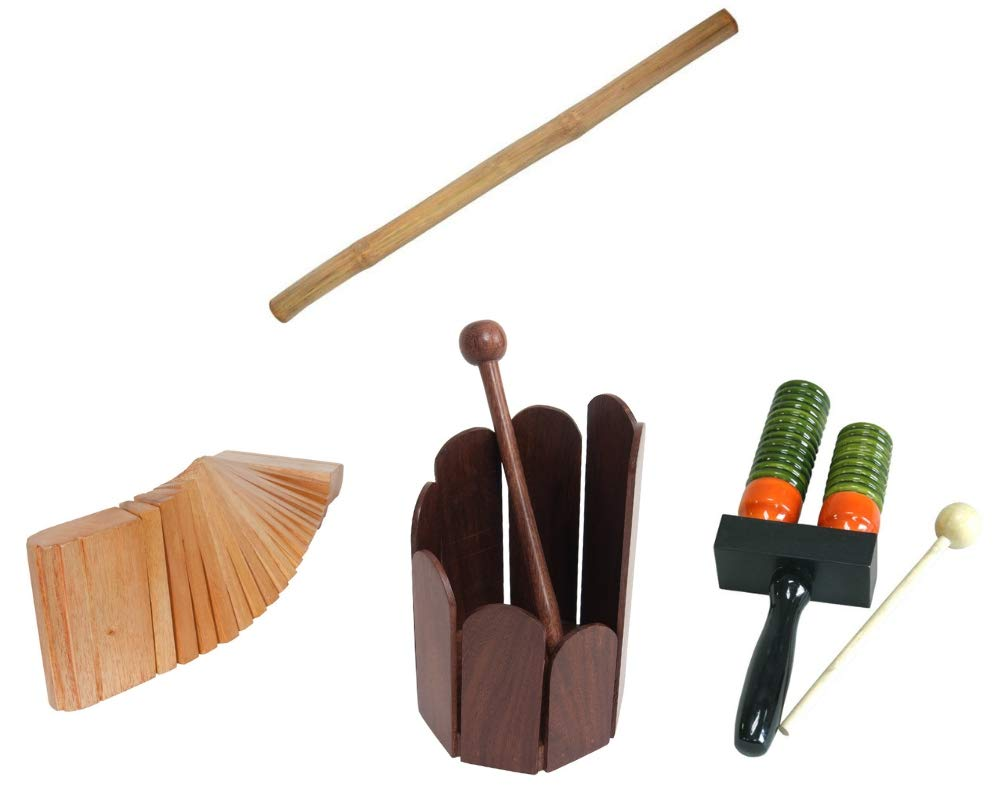 Rain Stick Package includes: Rain Stick 39'' Shaker Percussion Bamboo Sticks Instruments + Stir Drum Hand Percussion + Dobani Kokinko Hand Percussion, Red Cedar & Double Bell Wooden Agogo w/Mallet by Mid-East (Image #1)
