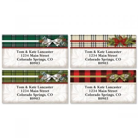 Warm Flannel Christmas Personalized Border Return Address labels- Set of 144 1-1/8