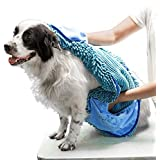 Tuff Pupper Large Dog Shammy Towel   Ultra Absorbent   Durable 35 x 15 Size for Dogs of All Breeds   Quick Drying Chenille Fabric   Designed for Indoor and Outdoor Use   Machine Washable (XL, Blue)