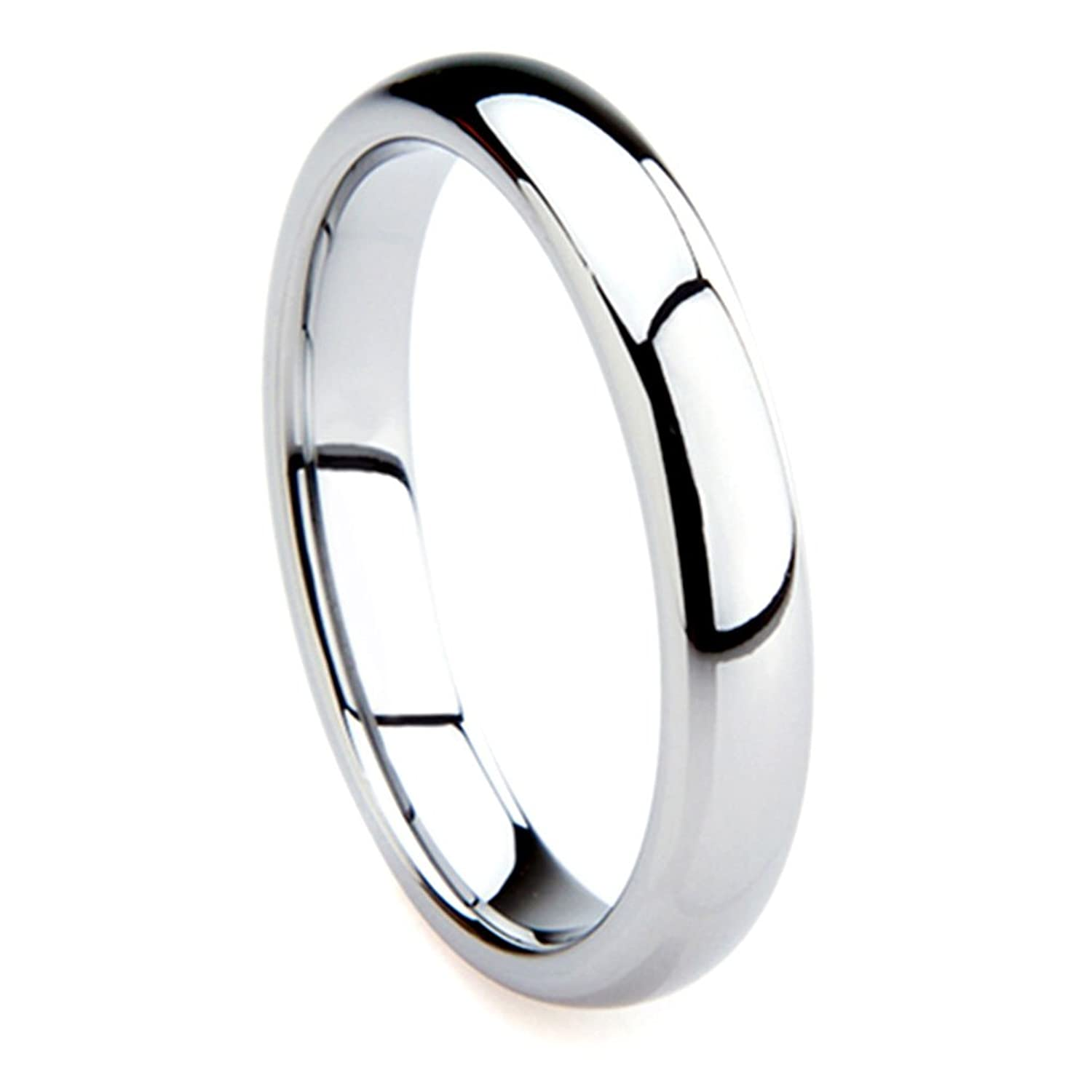 Tungsten Metal 4MM Plain Dome Wedding Band Ring Ring Size 4 12